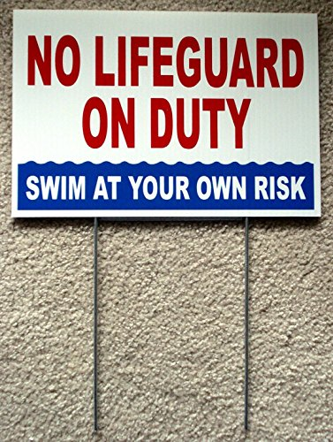 1 Pc Leading Popular No Lifeguard Duty Sign Warning Message Risk Beach Plastic Printed Size 8'' x 12'' with Stake by GVGs Shop