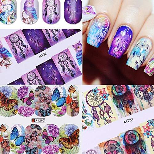 sholdnut 50 Sheets 3D Design Self-Adhesive Tip Nail Stickers Watermark Transfer Nail Art Tattoo Nail Decals DIY Nail Art Decoration for Women Girls