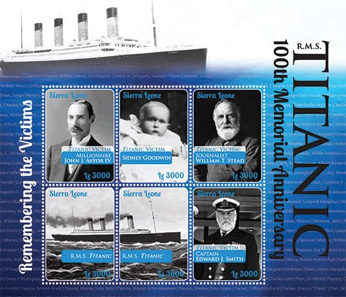 Titanic 100th Memorial Anniversary - Remembering The Victims - Collectors Stamps - Sierra Leone