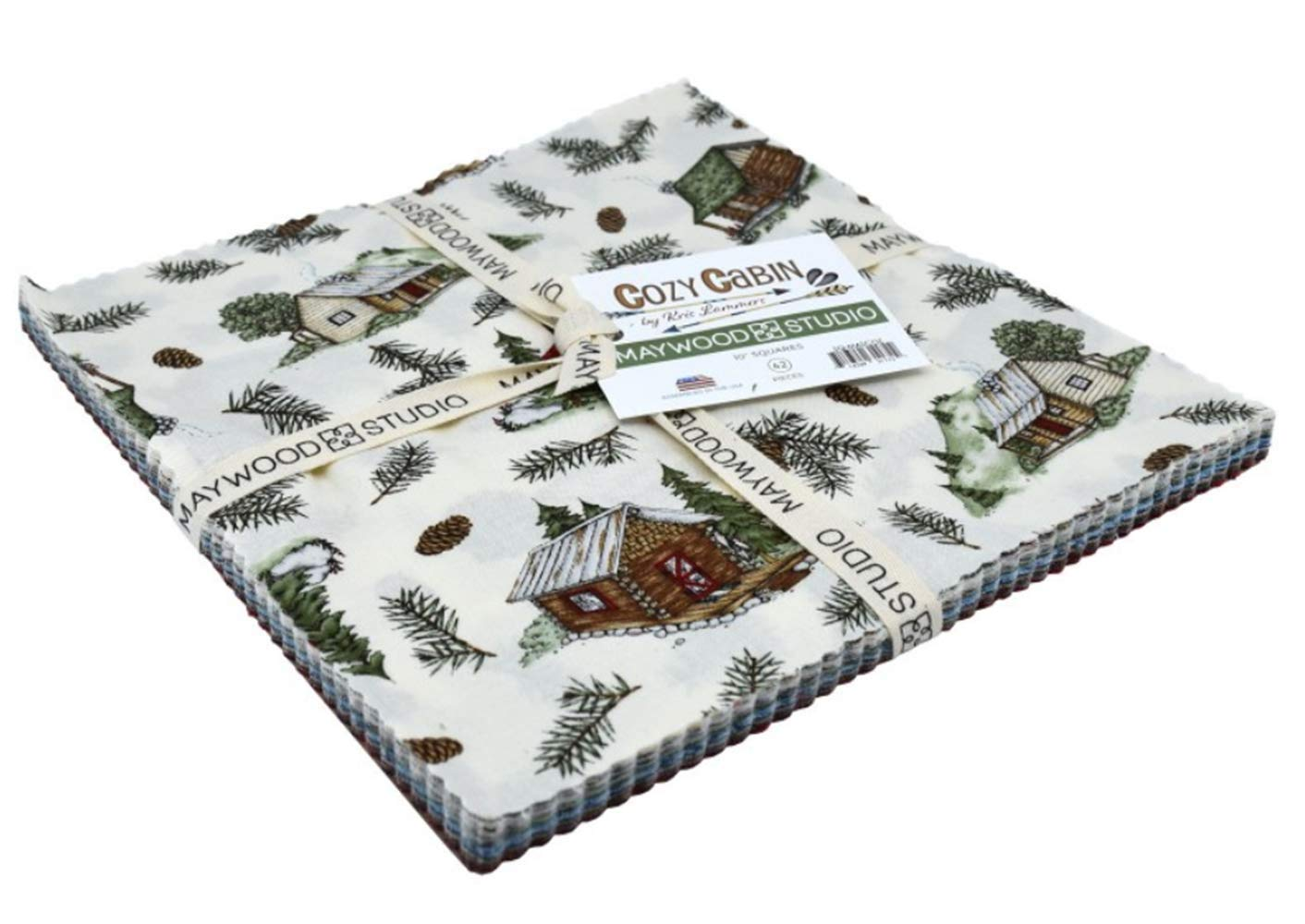 Cozy Cabin 10-inch Precut Squares Cotton Fabric Quilting Assortment Layer Cake by Kris Lammers for Maywood Studio by Maywood Studio