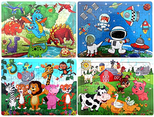 (Kids Puzzles Age 3-8 | 60 Piece Puzzles Preschool Educational Learning Toys for Toddlers | Wooden Jigsaw Puzzles Toy Set of 4 Theme - Dinosaur, Animals, Farm and Space)