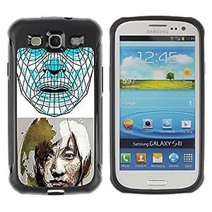 Hybrid Anti-Shock Defend Case for Samsung Galaxy S3 / Sci-Fi Future Art