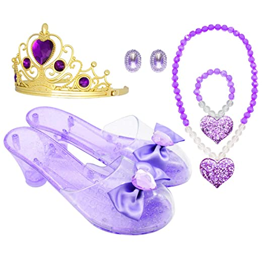 867250d365d2 Amazon.com: Princess Accessory Dress Up Set,Shoes Necklace Earrings and  Tiara Set,Fashion Beauty Set for Girls (Pur): Clothing