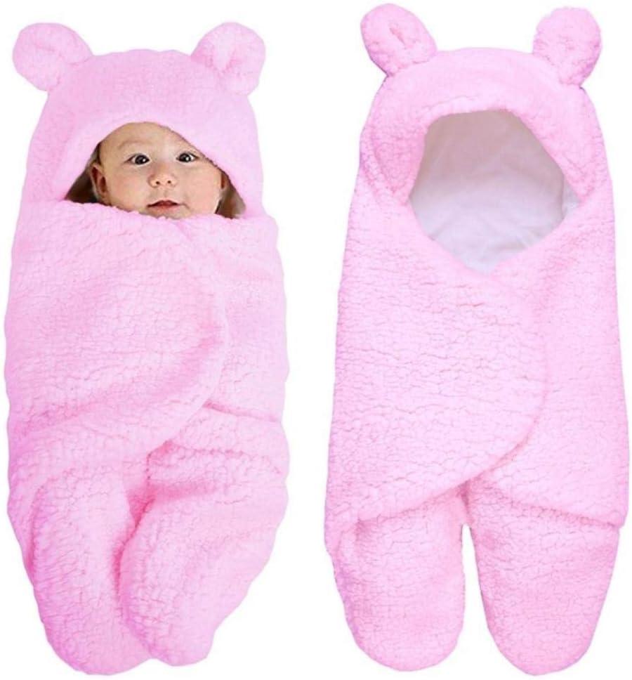 Che Baby Saco de Dormir Recién Nacido Edredón de Terciopelo cálido Manta de Envoltura de pañales parabebés Ropa de Cama Linda y sólida para bebés, Rosa, 0-2 Meses
