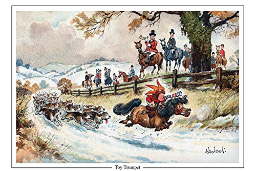 toy-trumpet-fox-hunting-greeting-card-with-envelope-by-norman-thelwell-blank-on-the-inside-for-any-m