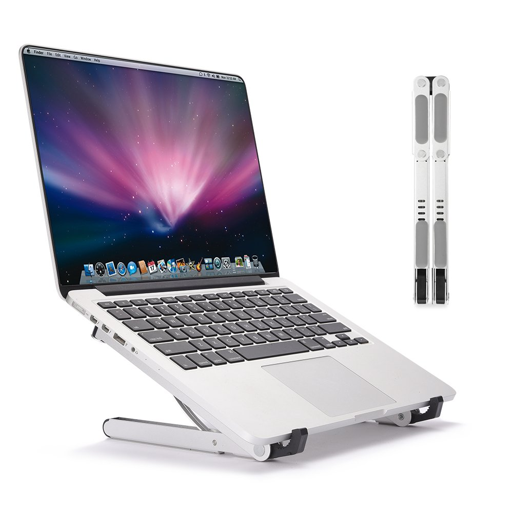 LONGKO Portable Laptop Stand - Adjustable Multi-Angle Stand Ventilated Aluminum Tablet Holder - Light Weight Foldable Screen Riser for MacBook Notebook iPad iPhone Cell Phone(White) LK-LS-54W