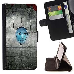 BullDog Case - FOR/Sony Xperia Z2 D6502 / - / blue balloon street art wall grafiti drawing /- Monedero de cuero de la PU Llevar cubierta de la caja con el ID Credit Card Slots Flip funda de cuer