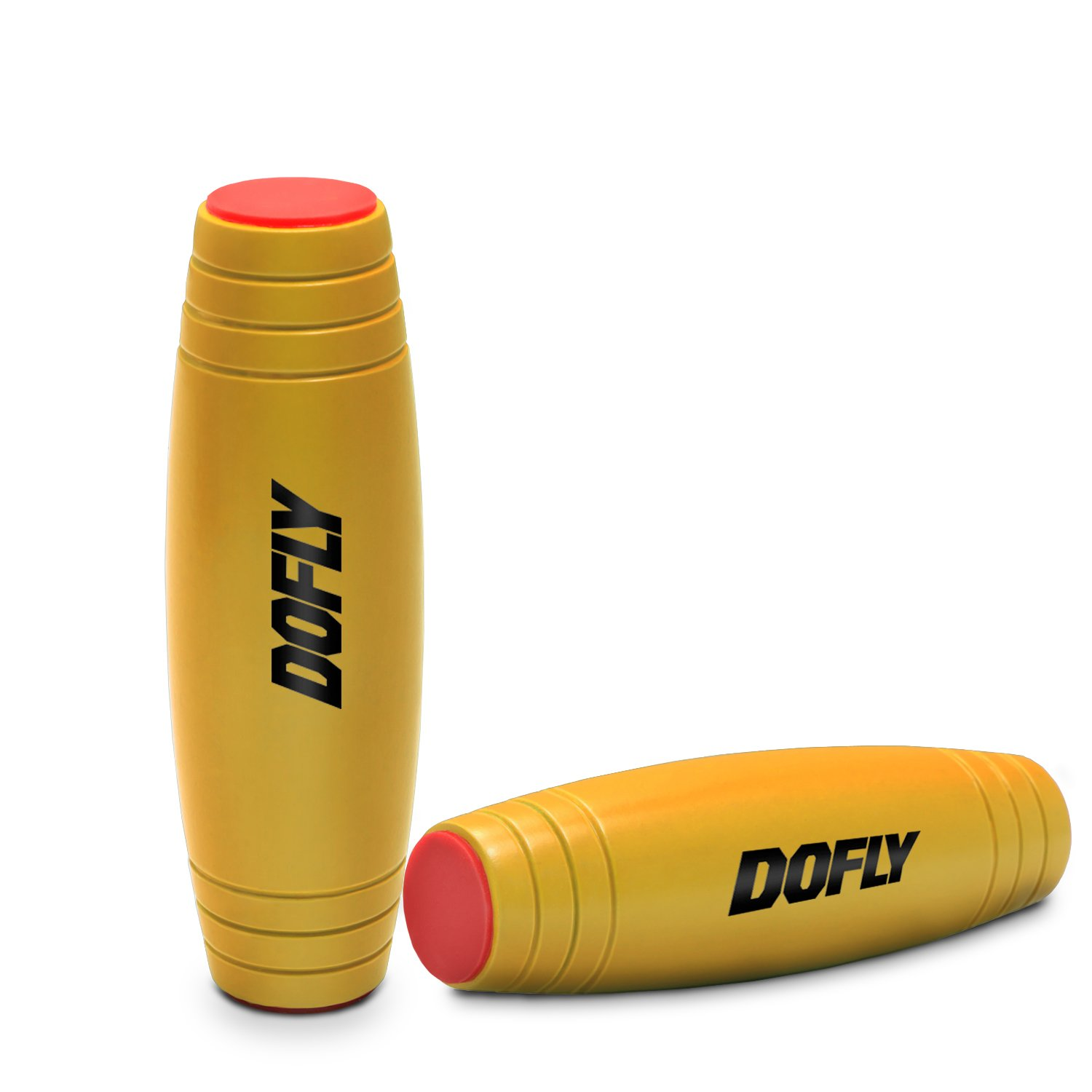 DOFLY Amazing Desk Toy, Spinner Stick Fidget Toy Easy to Flip Roll Made of Beech Desktop Hand Toy Anxiety Release for Office Home Party Class Bar(Yellow)
