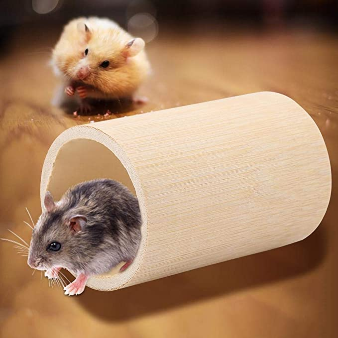 Small Animals Tube and Tunnel Bamboo Hamster Mouse Tube Toy Small Pet Fun Tunnel Activity Toy Cage Toys for Chinchillas Guinea Pig Squirrel Mice Gerbils L