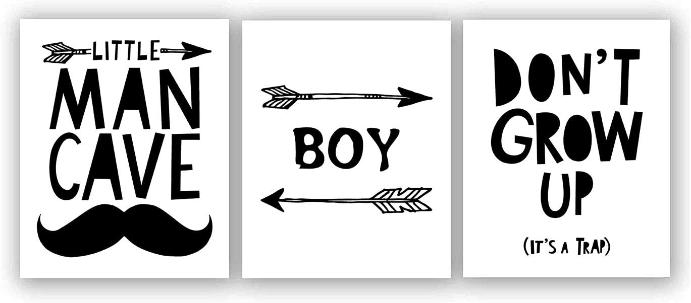 """Black White Boy Little Man Cave Inspirational Words Quote Art Painting Set of 3 (8""""X10"""" Canvas Picture),Don't Grow Up Painting Wall Art Print Poster for Nursery or Kids Boys Room Home Decor,No Frame"""