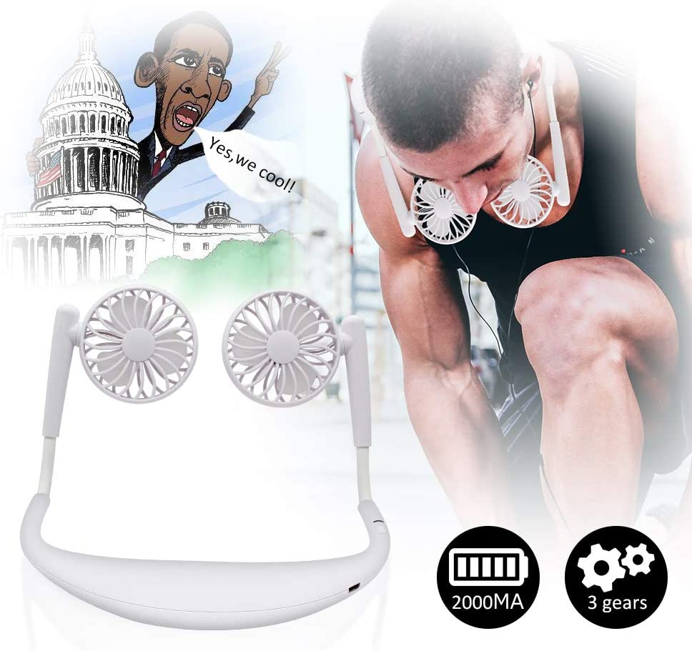 TOA Small Fan Portable Fans Portable Mini Portable Fan Hands Free Fan USB Charging Fan Neck Fan Easy to Adjust Direction. Suitable for Jogging, Cycling, Outdoor, Working, Traveling White