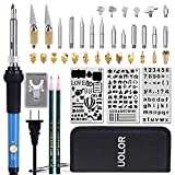 45 Pcs Wood Burning Kit, Creative Woodburner Set with Adjustable Temperature Soldering Pyrography Woodburning...