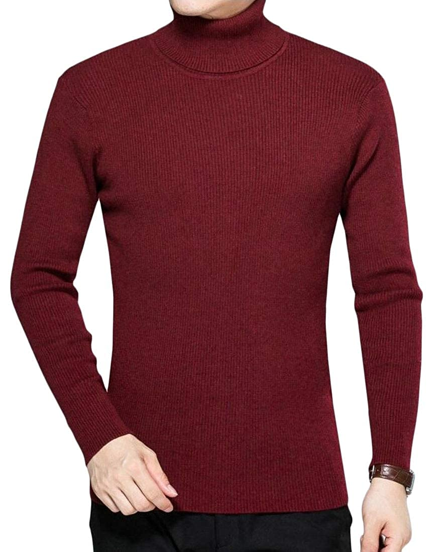 WSPLYSPJY Mens Casual Slim Fit Pullover Sweaters Knitted Turtleneck Long Sleeve Top