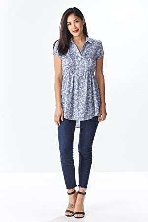 FLORAL PRINT PLEAT TUNIC (Medium, Blue)