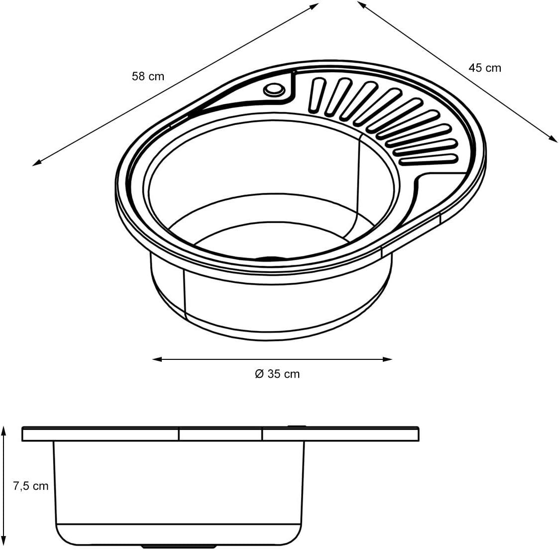 acero inoxidable ECD Germany Fregadero de cocina 58 x 45 cm con juego de desag/üe lavabo a la izquierda con sif/ón pila lavadero platos manual empotrado con rebosadero soporte a la derecha