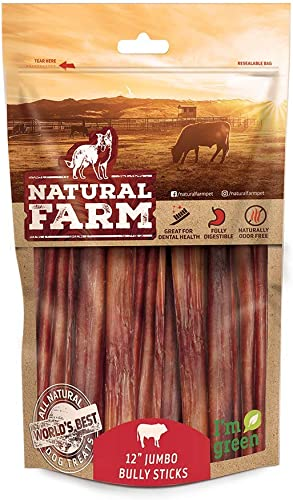 Natural Farm Odor Free Jumbo Bully Sticks, 100 Beef – Made Packaged at Our Own Food-Grade Facility – Fully Digestible High Protein Chews, Low Fat Treats for Small, Medium Large Dogs