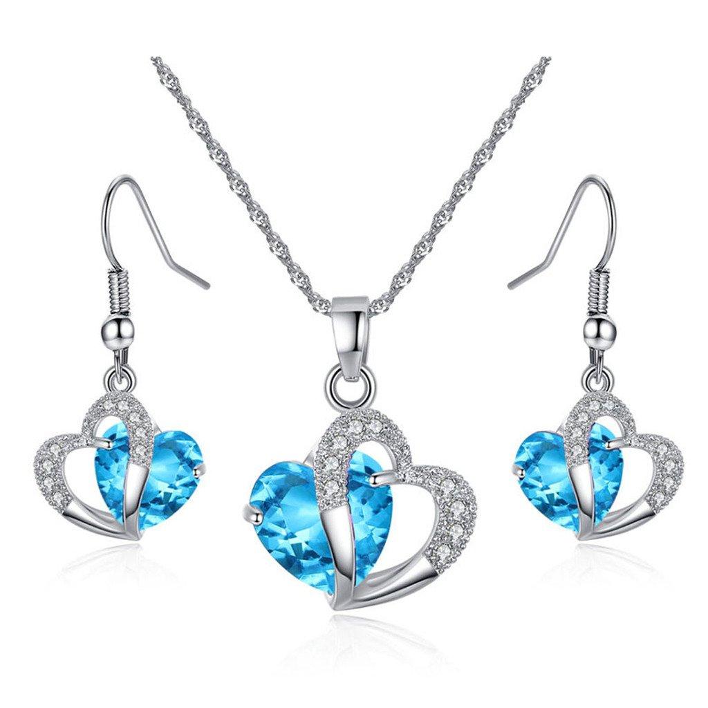 JewelleryClub collier de coeur en argent plaqué Swarovski Elements collier de cristal et boucles d'oreilles pour les femmes JewelleryClub Gifts JY161-Blue