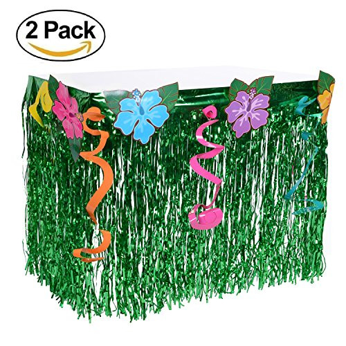 Wonder4 2 Packs Hawaiian Luau Hibiscus Table Skirt Green Flowered Artificial Grass Table Skirt 9ft with Musical Symbols & Colorful Faux Flowers for Party Decorations by Wonder4