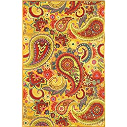 "Sweet Home Yellow Paisley Design Area Rug (5'0""X6'6"") 5 Feet by 6 Feet 6 Inch with Non-Skid (Non-Slip) Rubber Backing"