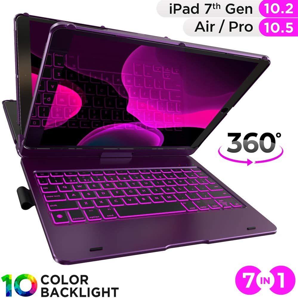 iPad Air 3rd Generation 360 Rotatable iPad 7th Generation Case with Keyboard iPad Air 10.5 2019 iPad Keyboard Case for iPad 10.2 2019 Backlit iPad Pro 10.5 2017 White Wireless