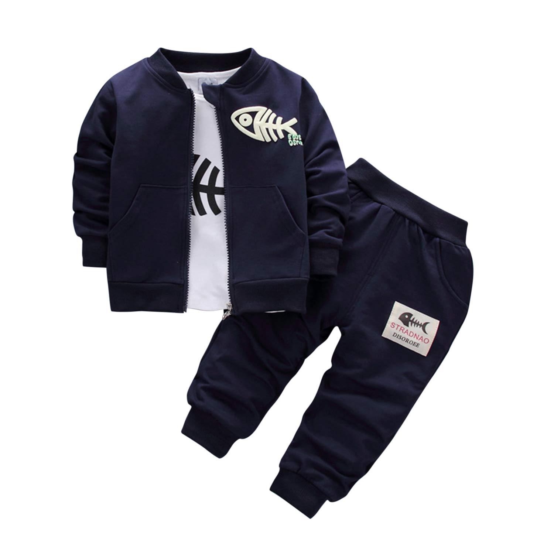 De feuilles 3PCS Baby Jungen Bekleidungsset Kinder Sportanzug Trainingsanzug Freizeit Gentlemant Outfits Sweatshirt Pullover Hoodie