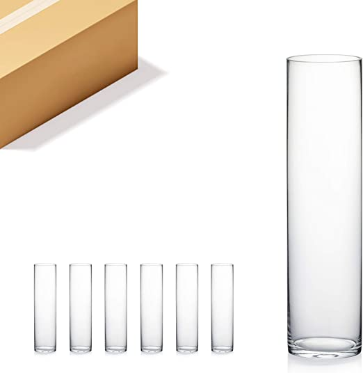 Amazon Com Wgv Cylinder Vase Bulk Diameter 5 Height 20 Clear Glass Floral Planter Container Tall Centerpiece Arrangement For Wedding Party Event Home Office Decor 6 Pieces Home Kitchen