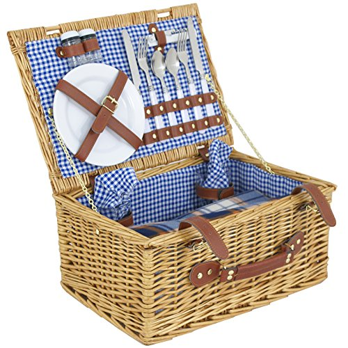 ZENY Compact 2 Person Wicker Picnic Basket Picnic Hamper Set, Included Flatware, Plates, Wine Glasses, Picnic Blanket