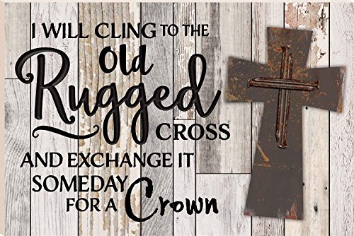CELYCASY I Will Cling To The Old Rugged Cross 16 x 24 Faux Distressed Wood Barn Board Wall Mounted Sign ()