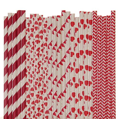 (Biodegradable Paper Straws Mix, Valentines Day, Red, Striped Heart Pennant Banner Chevron)