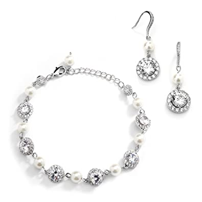f9870f57b3594 Mariell Ivory Pearl & Round CZ Bridal Bracelet & Earrings Set - Wedding  Jewelry Sets for Bridesmaids