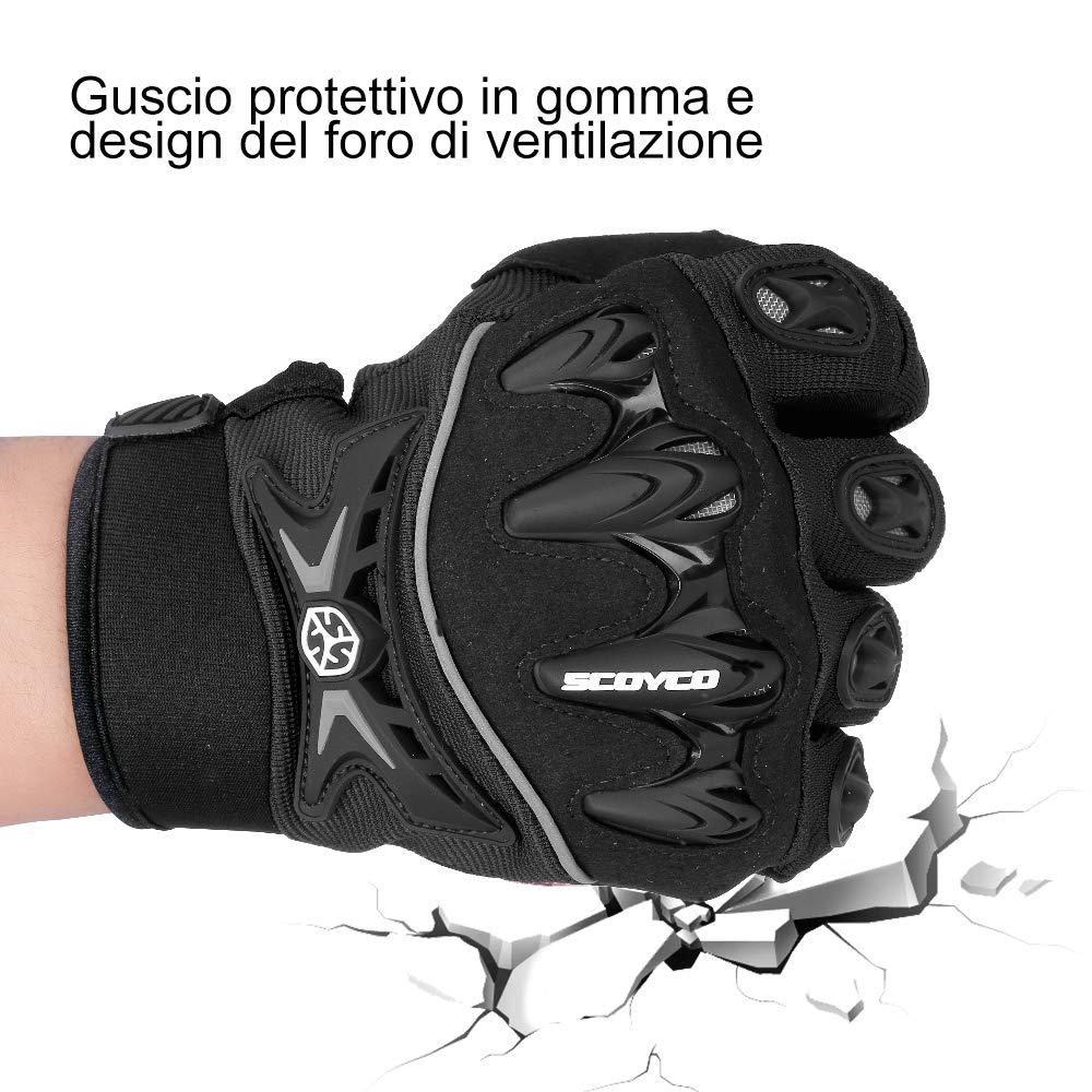 Guanti Moto Estivi Full Finger Hard Knuckle Multiprotezione Traspiranti Resistenti Guanti Sportivi per Donna Uomo Moto Ciclismo Scooter Arrampicata Campeggio XL Rosso