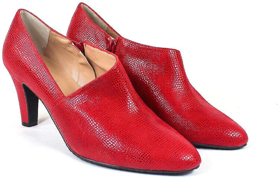TALLA 43 EU. VOFICE - Botines Salones Abotinados de Vestir para Mujer en Piel - Tacon 7 cm - Hechos en España - Cierre Cremallera - Moda Tendencia Zapatos Elegantes Invierno -