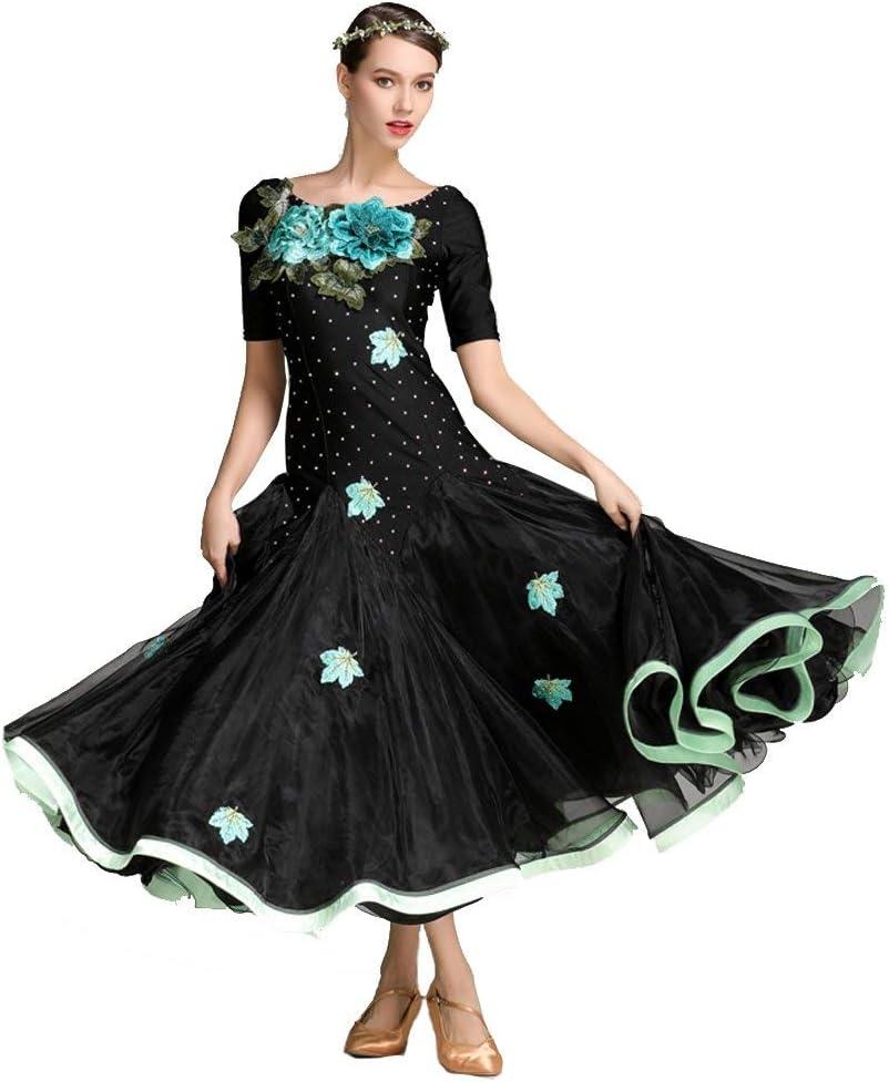 社交婦人向けパフォーマンスElastaneアップリケループ半袖レギュラードレス  Medium