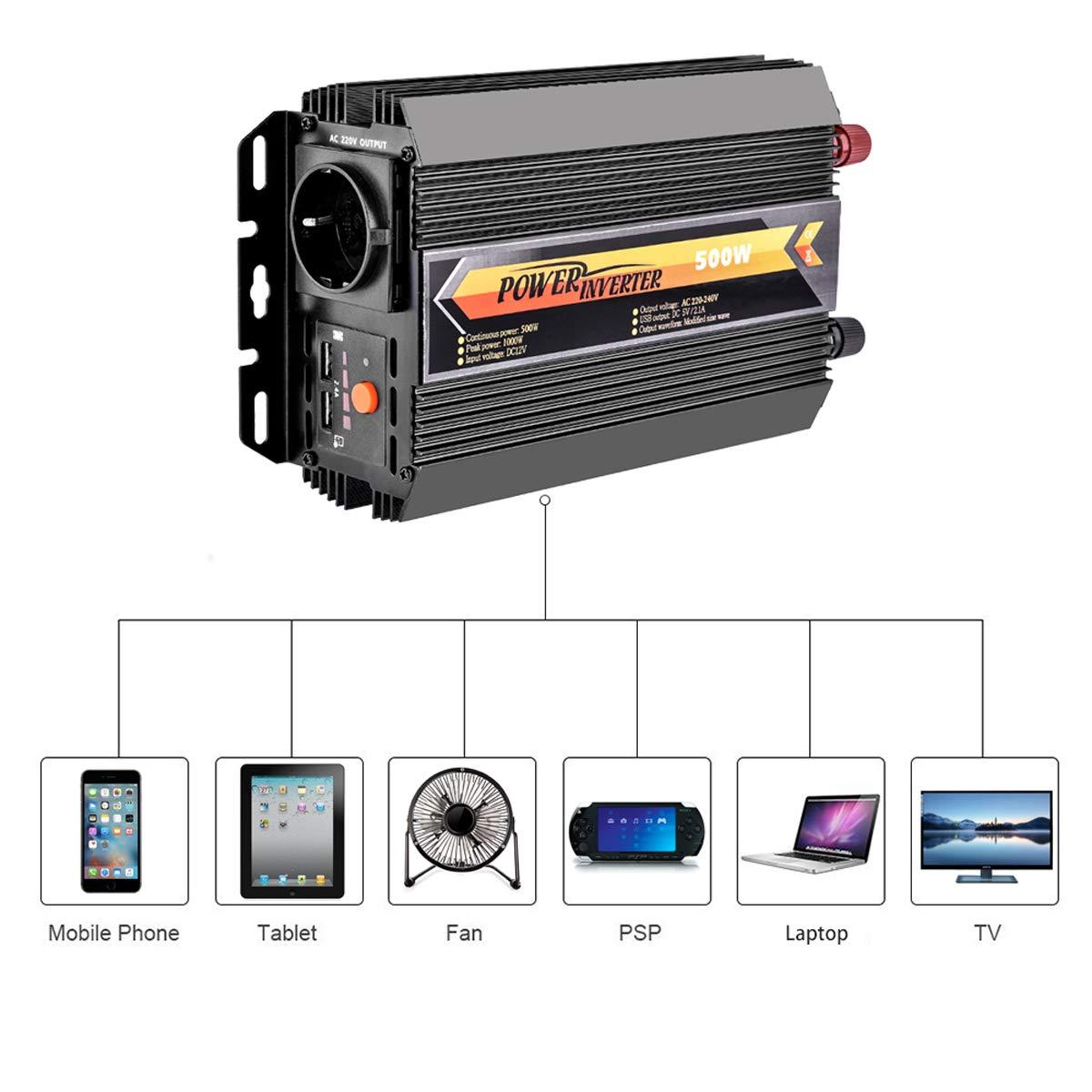 Power Inverter 12V 220V,Lacyie 300 600W Inverter per Auto Convertitore Sinusoidale Trasformatore di Potenza 2 Porte USB 2.1A con Adattatore Accendisigari e Pinze per Batteria,Camper//Barca//Camion