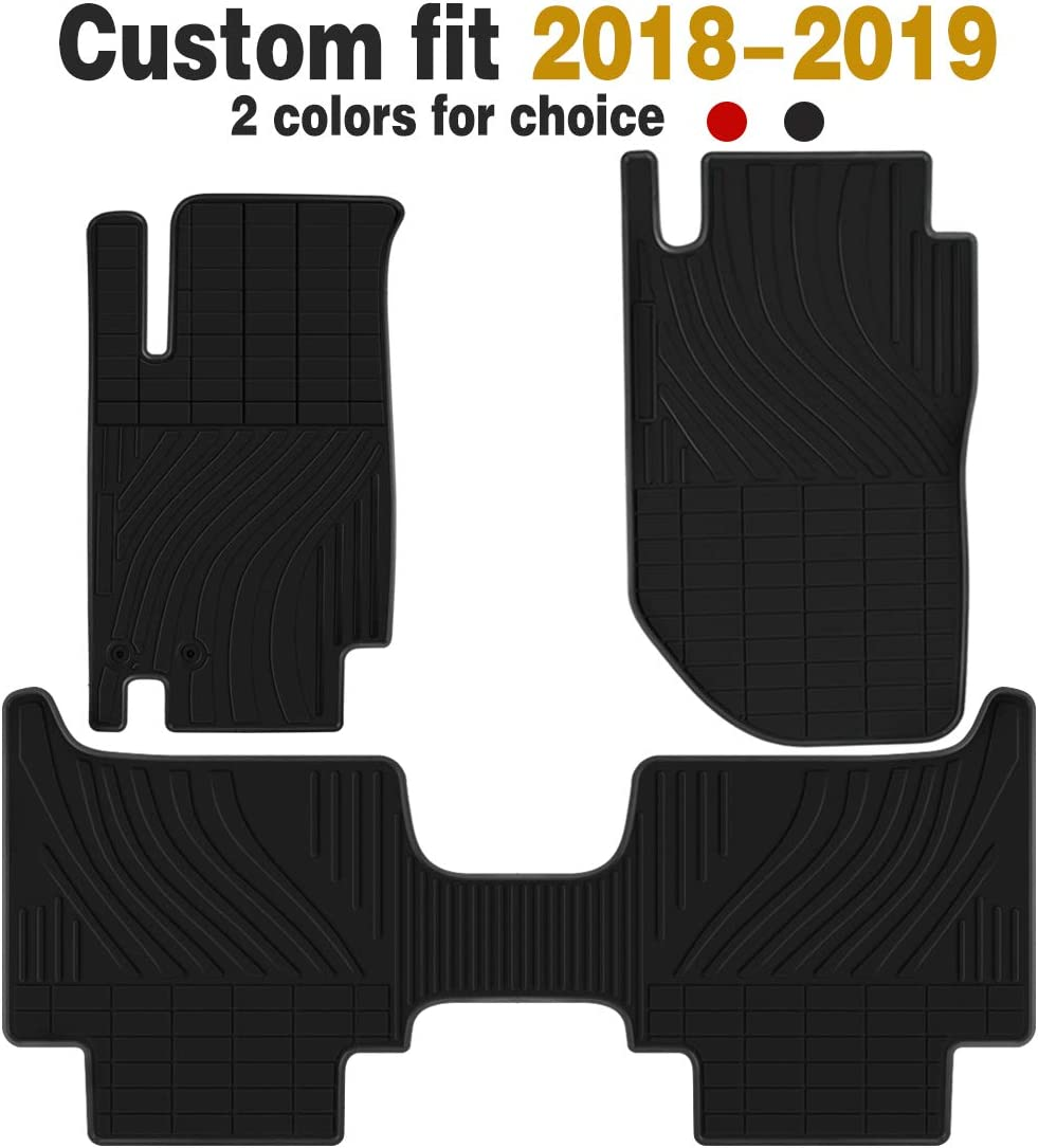 Ucaskin Car Floor Mats Custom Fit for Nissan Navaral 2018 2019 Odorless Washable Rubber Foot Carpet Heavy Duty Anti-Slip All Weather Protection Car Floor Liner-Red