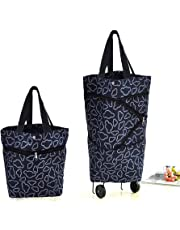 Cocobuy Collapsible Folding Shopping Bag with Wheels Shopping Trolley Trolley Bags Foldable Shopping Cart Wheeled Shopping Bag Travel Bag 7 Colors (Black)