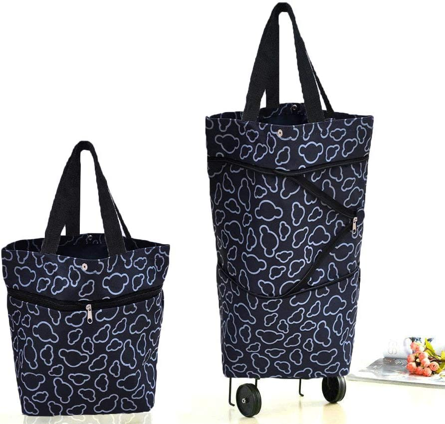 Cocobuy Collapsible Trolley Bags Folding Shopping Bag with Wheels Foldable Shopping Cart Reusable Shopping Bags Grocery Bags Shopping Trolley Bag on ...