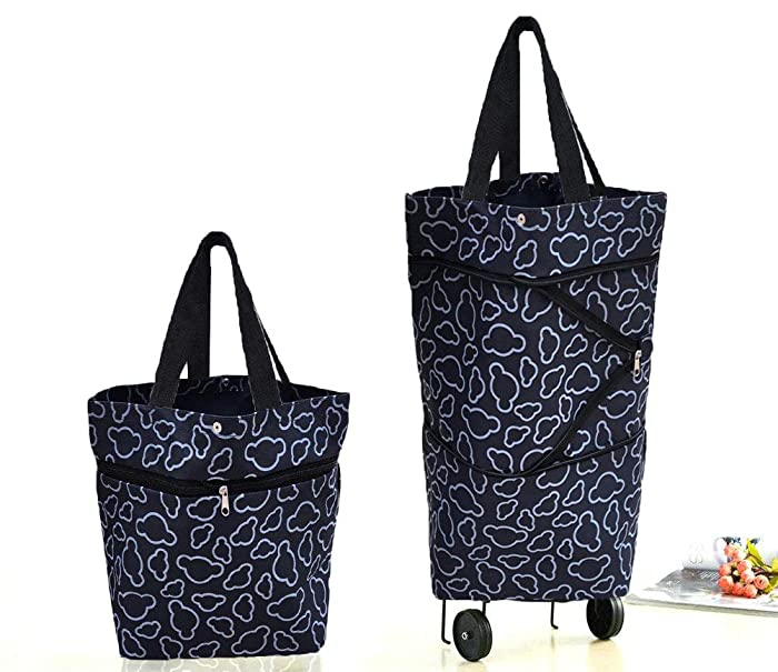 Cocobuy Collapsible Trolley Bags Folding Shopping Bag with Wheels Foldable Shopping Cart Reusable Shopping Bags Grocery Bags Shopping Trolley Bag on Wheels for Women (Bigger Size Black)