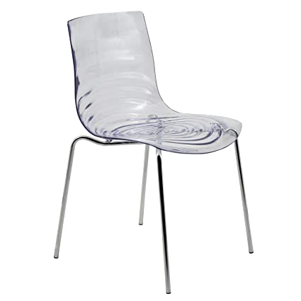 Tremendous Leisuremod Water Ripple Design Modern Lucite Dining Side Chair With Metal Legs Clear Ocoug Best Dining Table And Chair Ideas Images Ocougorg