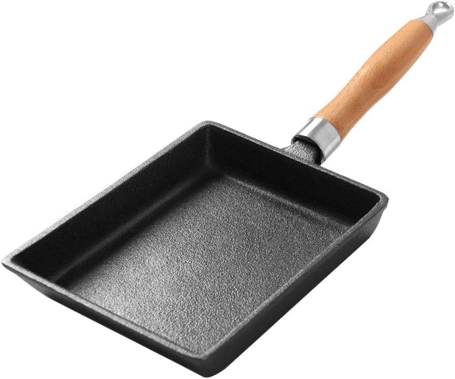 Japanese Cast Iron Rectangle Frying Pan, Non-Stick Omelette Pan with Handle Pancake Pot (2015cm Black) ZHLJ-Pan
