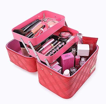 Organizador de maquillaje Estuche, Bolsa de cosméticos de moda portátil de gran capacidad Maquillaje profesional de múltiples capas Estuche de cosméticos de viaje duro Estuche de cosméticos,Red: Amazon.es: Belleza