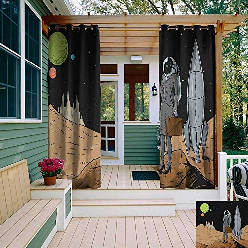 (leinuoyi Astronaut, Outdoor Curtain of Lights, Business Woman in Space Briefcase Buying and Selling on Alien Planet, Outdoor Curtain Set for Patio Waterproof W84 x L96 Inch Black Brown Multicolor)
