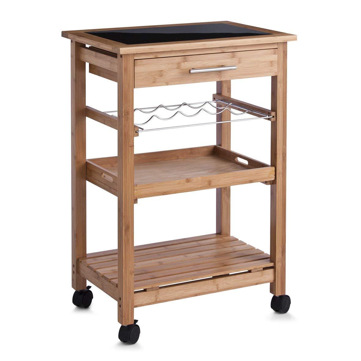Zeller 13778 - Carrito para cocina con repisa de cristal, madera de bambú (58 x 40 x 85 cm): Amazon.es: Hogar