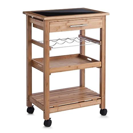 Zeller 13778 - Carrito para cocina con repisa de cristal, madera de bambú (58