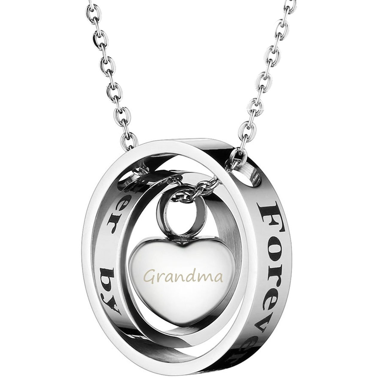 Zysta Free Engraving - Personalized Custom Floating Polished Ring Necklace Words Forever in My Heart + No Longer by My Side with Small Cremation Keepsake Urn Heart Pendant (Engraving)