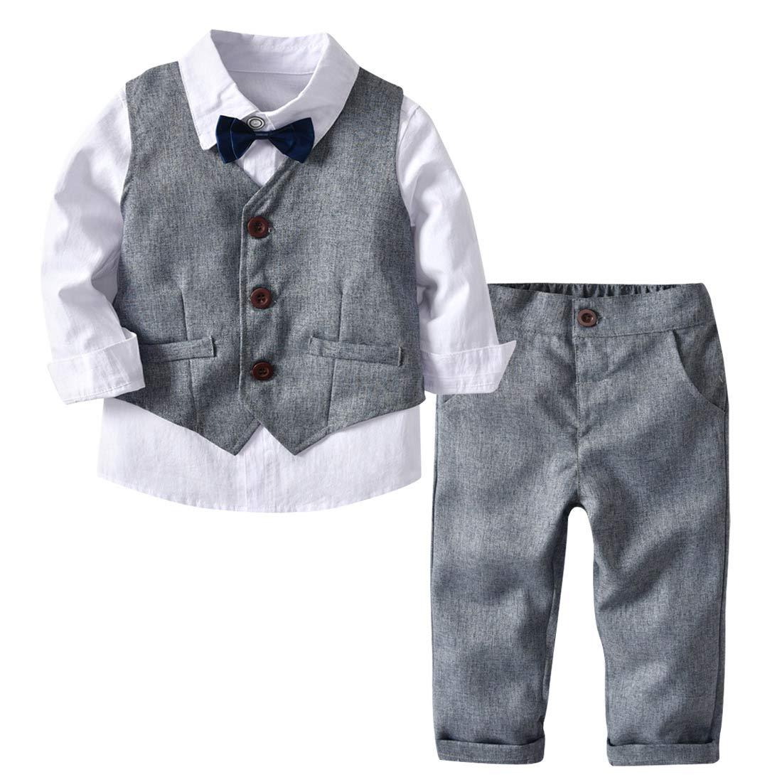 4Pcs Toddler Baby Boy Formal Outfit Tuxedo Gentleman Suit Romper Vest Pants Bowtie Outfit Clothes Set Grey S