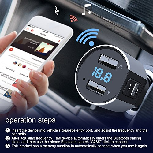 Bluetooth FM Transmitter, Car Charger, Wireless Bluetooth FM Radio Adapter Car Kit FM Transmitter Radio Adapter and MP3 Music Player Control 3.4A Car Charger, Dual USB Ports Charge C26S by Foneda (Image #6)