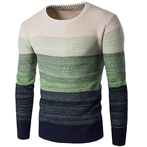 Zicac Men's Casual Stripe Pullover Sweater Assorted Color Knitwear (Green, M)