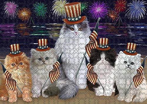 (4th of July Independence Day Firework Persian Cats Puzzle with Photo Tin PUZL51045 (1000 pc. 20