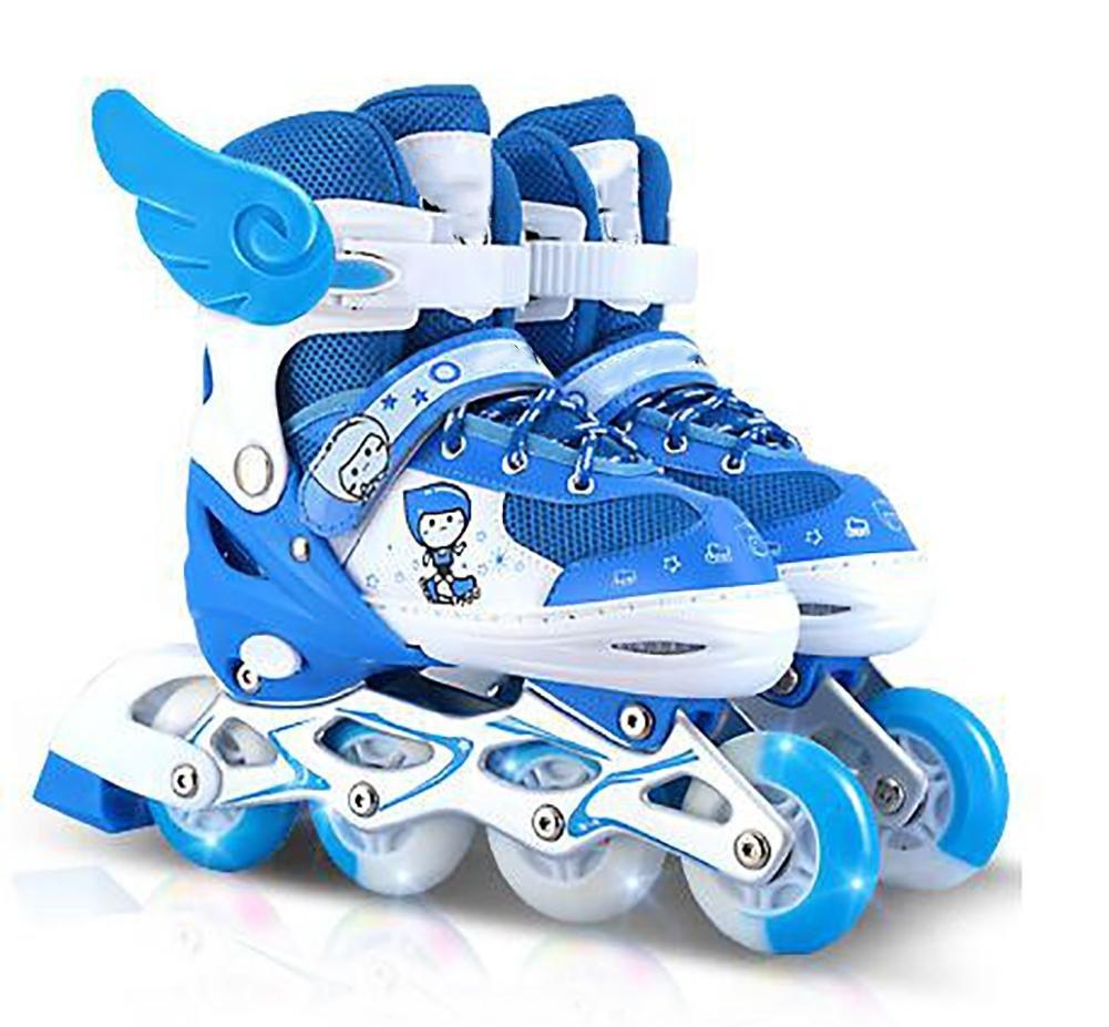 CHILDREN INLINE SKATES ROLLER SOFT SHELL ADJUSTABLE BLUE PU WHEELS ABEC , blue , large by WY
